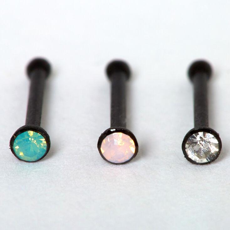 Black 20G Blue & Pink Crystal Nose Studs - 3 Pack,