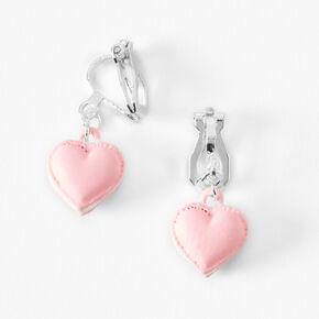 Puffy Heart Clip On Drop Earrings - Pink,