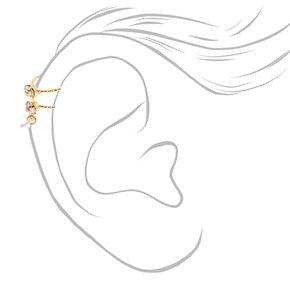 Gold-Tone Faux Crystal Ear Cuff,