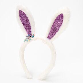 Claire's Club Glitter Bunny Ears Headband - Purple,