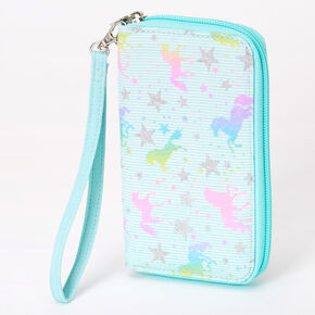 Unicorn Stars Striped Wristlet - Mint,