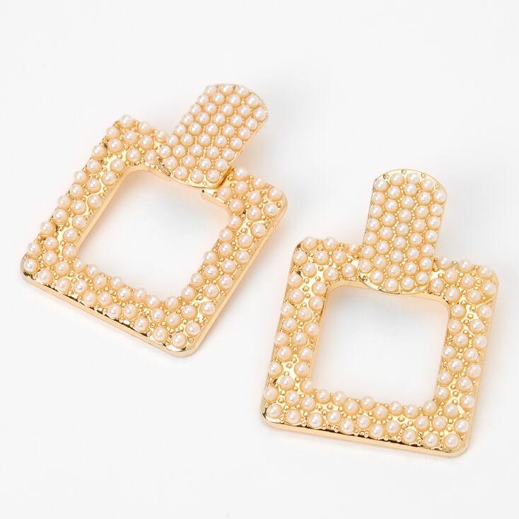 """Gold 1.5"""" Pearl Door Knocker Drop Earrings,"""