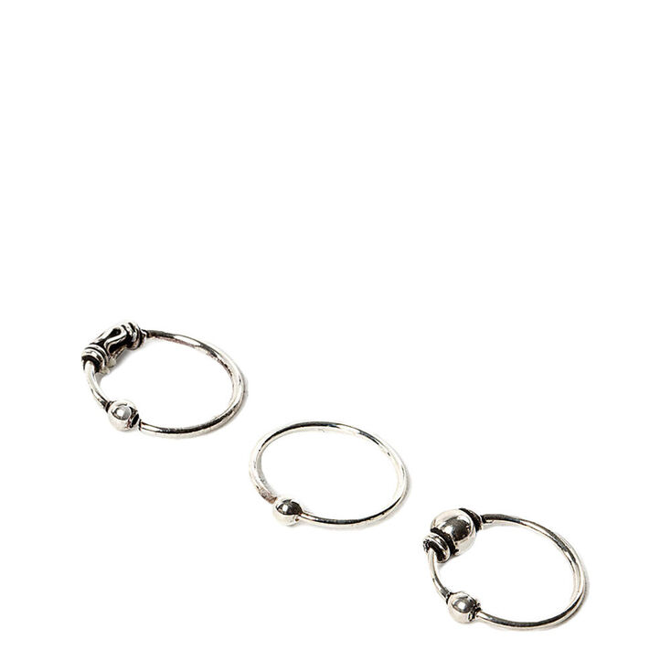 Sterling Silver 22G Beaded Cartilage Hoop Earrings - 3 ...