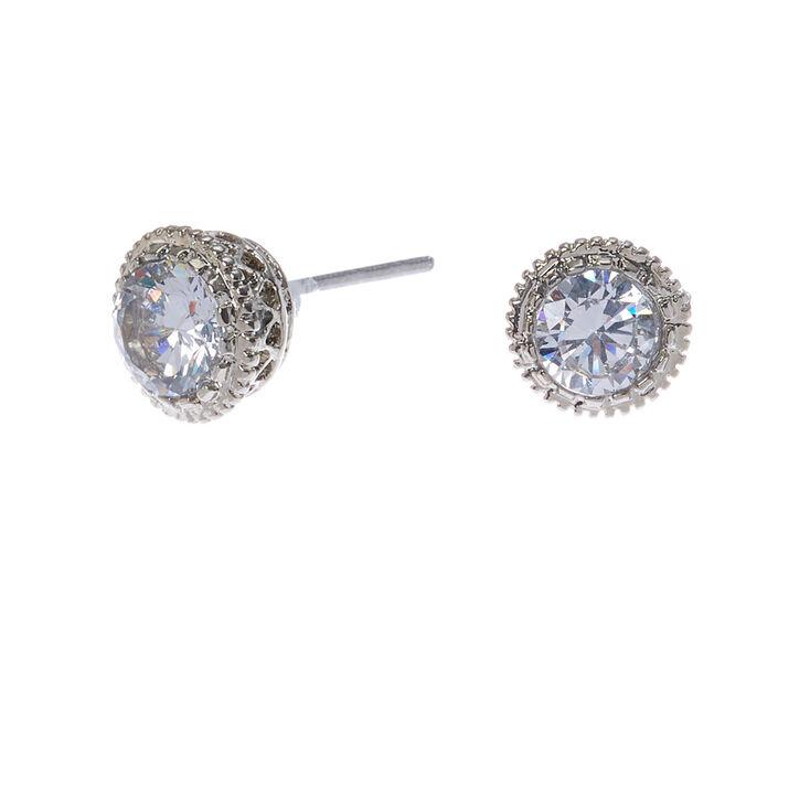Silver Cubic Zirconia 5MM Round Stud Earrings,