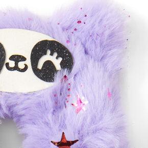 Medium Faux Fur Panda Star Hair Scrunchie - Purple,