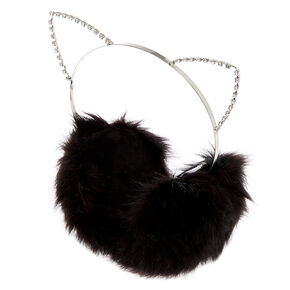 Go to Product: Crystal Embellished Cat Ear Muffs - Black from Claires