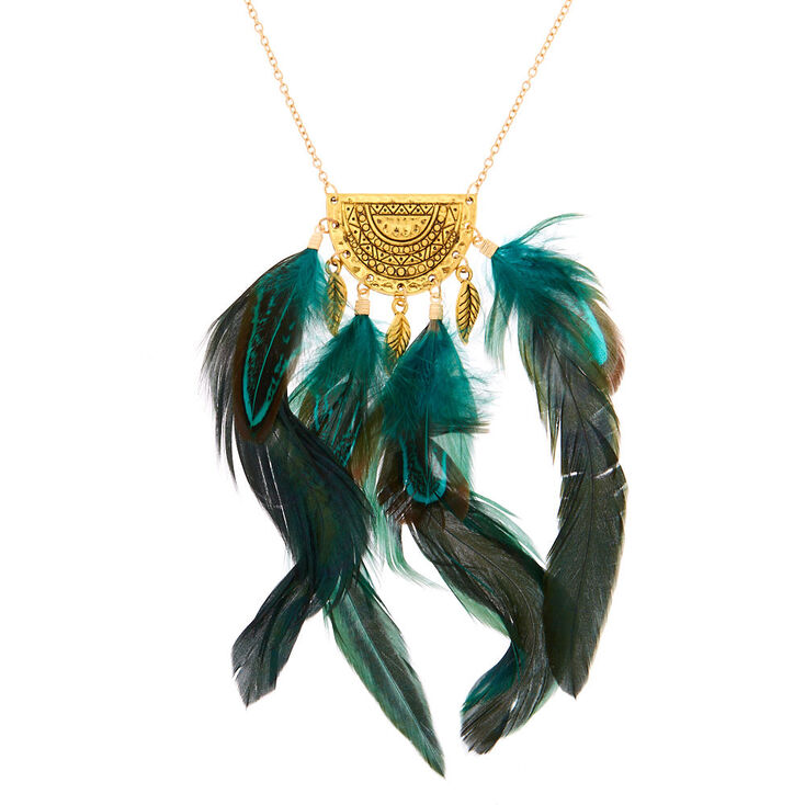Gold Feather Long Pendant Necklace - Green,
