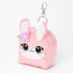 Glitter Bunny Face Mini Backpack Keychain - Pink,