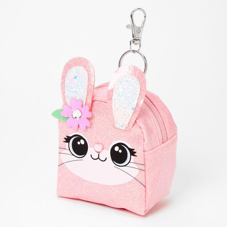 Porte-clés mini sac à dos visage de lapin à paillettes - Rose,
