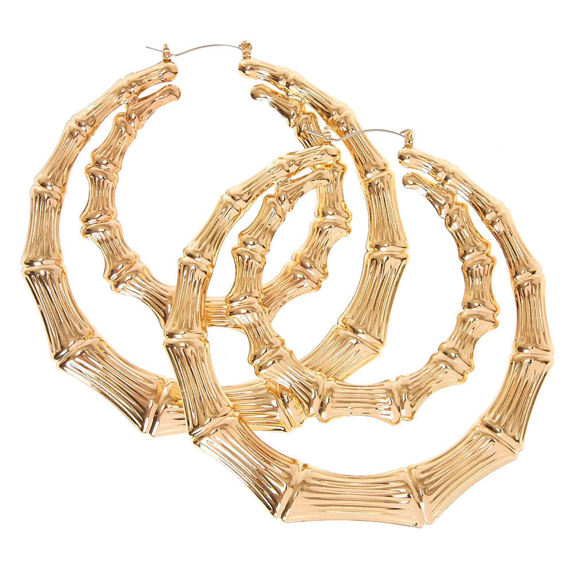 100mm Gold Tone Double Bamboo Hoop Earrings