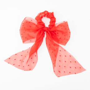 Dotted Organza Bow Hair Scrunchie - Red,