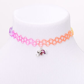 Mood Elephant Rainbow Tattoo Choker Necklace,