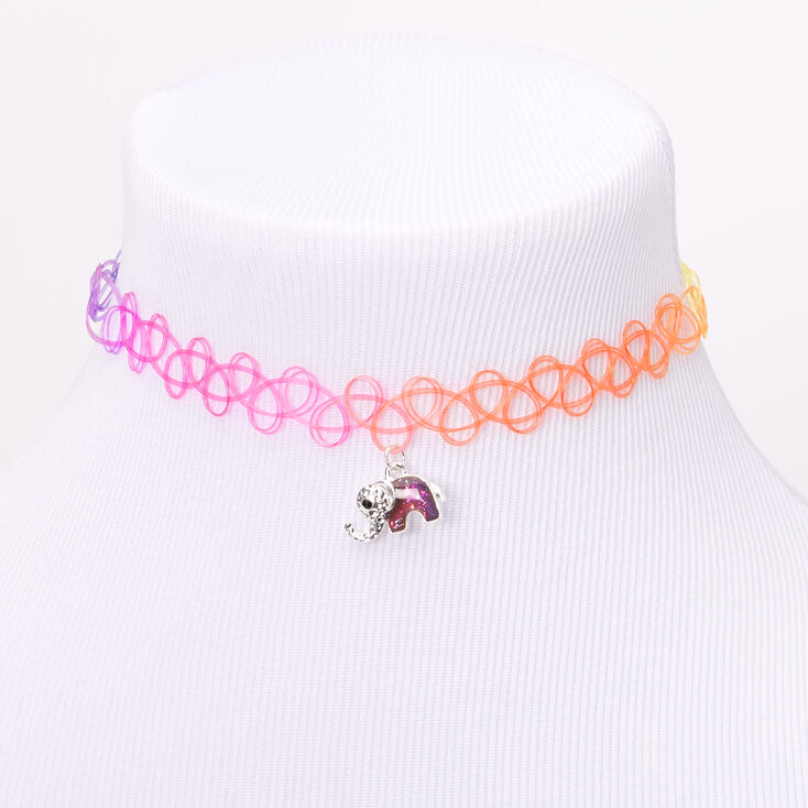 Mood Elephant Rainbow Tattoo Choker Necklace,