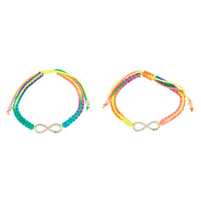 Neon Rainbow Infinity Adustable Friendship Bracelets - 2 Pack,