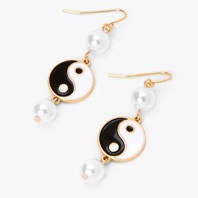 Pendantes yin yang perles d'imitation 4cm couleur dorée,