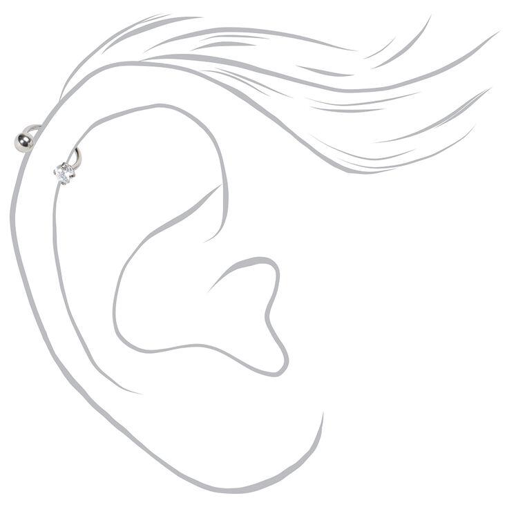 Titanium 16G Crystal Ball Horseshoe Cartilage Hoop Earring,