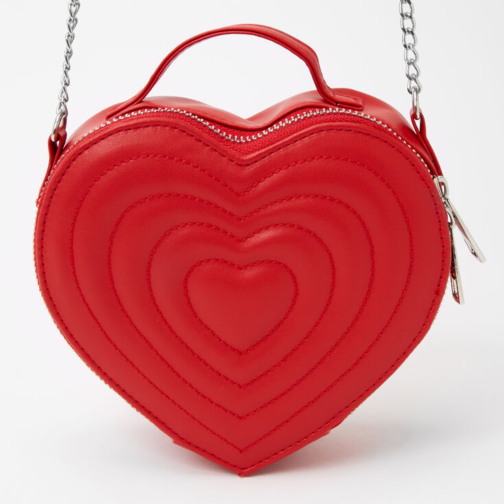 Quilted Heart Crossbody Bag - Red,