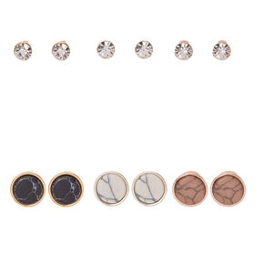 Mixed Metal Crystal Marble Stone Stud Earrings - 6 Pack,