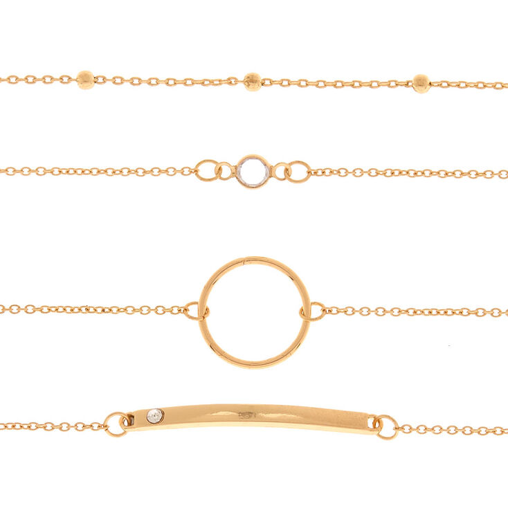Gold Chain Choker Necklace - 4 Pack,