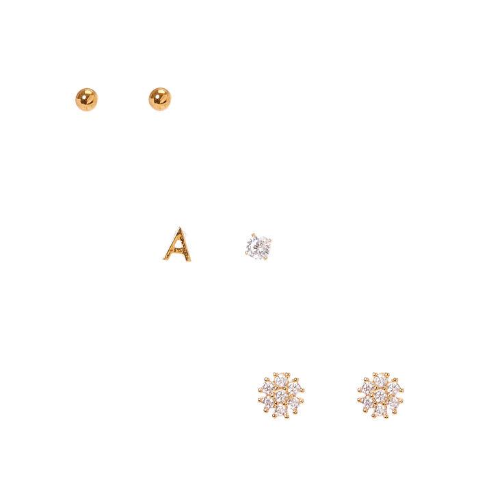 Ensemble de clous d'oreilles avec l'initiale A couleur doré,