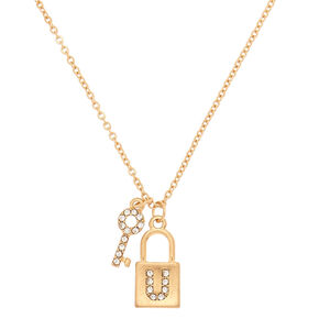 Gold Lock & Key Initial Pendant Necklace - U,