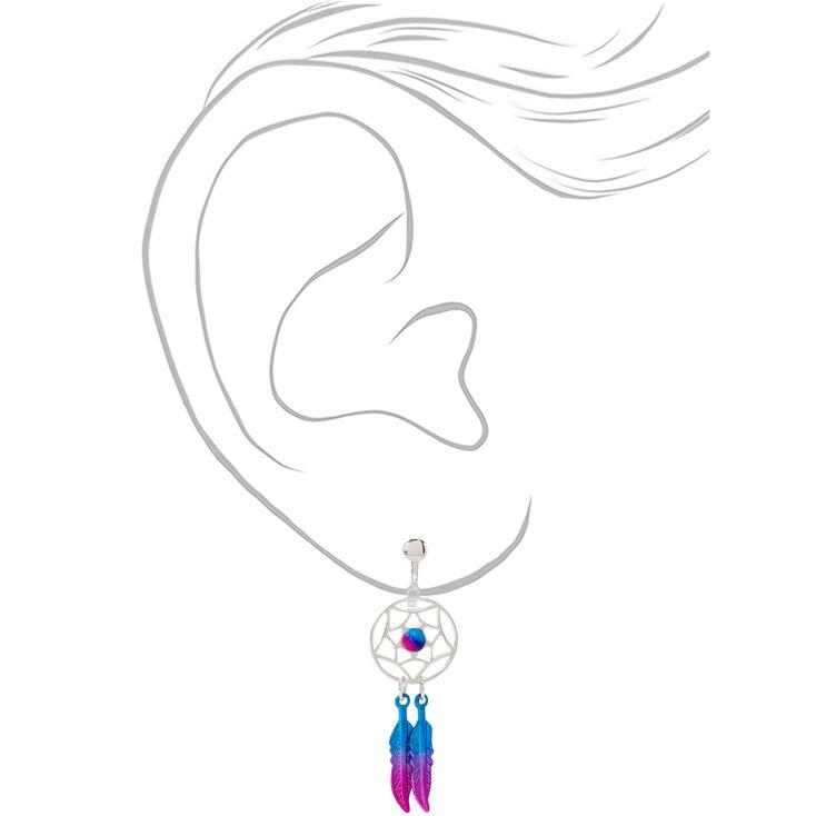 """Silver 1.5"""" Pink & Blue Beaded Dreamcatcher Clip On Drop Earrings,"""
