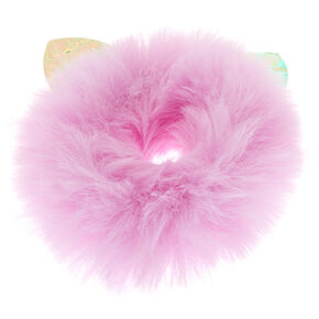 Medium Faux Fur Cat Ear Hair Scrunchie - Lilac,