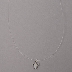 Silver Turtle Illusion Pendant Necklace,