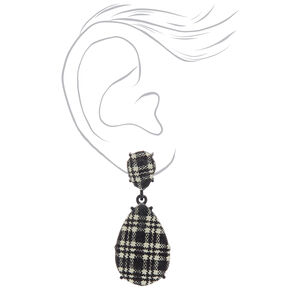 "2"" Gingham Teardrop Drop Earrings - Black,"
