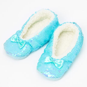 Claire's Club Plush Sequin Slippers - Mint,