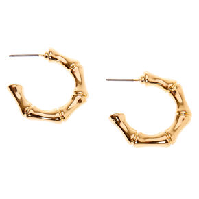 Gold 25MM Bamboo Hoop Earrings,