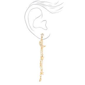 Gold Moon & Stars Linear Drop Earrings,