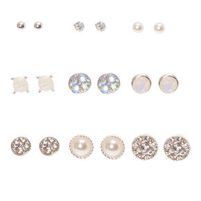 Iridescent Crystal & Pearl Stud Earrings - 9 Pack,