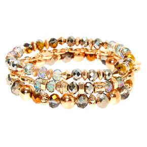 Gold Bead Stretch Bracelets - 3 Pack,