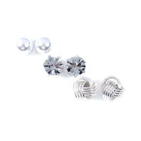 Silver Embellished Knotted Stud Earrings - 3 Pack,