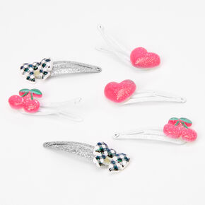 Claire's Club Bows, Hearts, & Cherries Snap Hair Clips - 6 Pack,