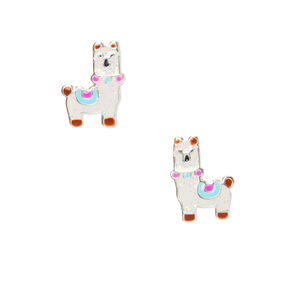Sterling Silver Llama Stud Earrings - White,