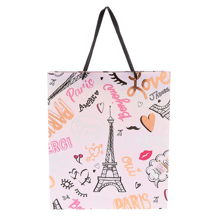 Sac cadeau rose de taille extra large thème Paris,