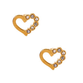 18kt Gold Plated Half Crystal Heart Stud Earrings,