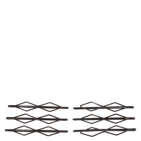 Geometric Slide Hair Pins - Black, 6 Pack,