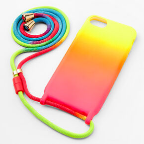 Neon Ombre Phone Case with Strap - Fits iPhone 6/7/8,