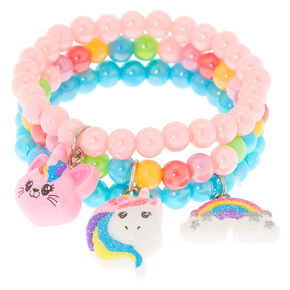 57fc35af32896 Claire's Club Rainbow Beaded Stretch Bracelets - 3 Pack