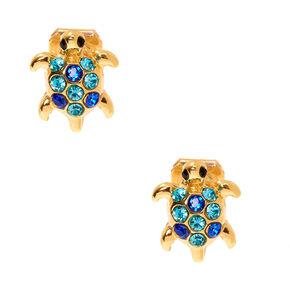 Gold Turtle Clip On Stud Earrings - Blue,