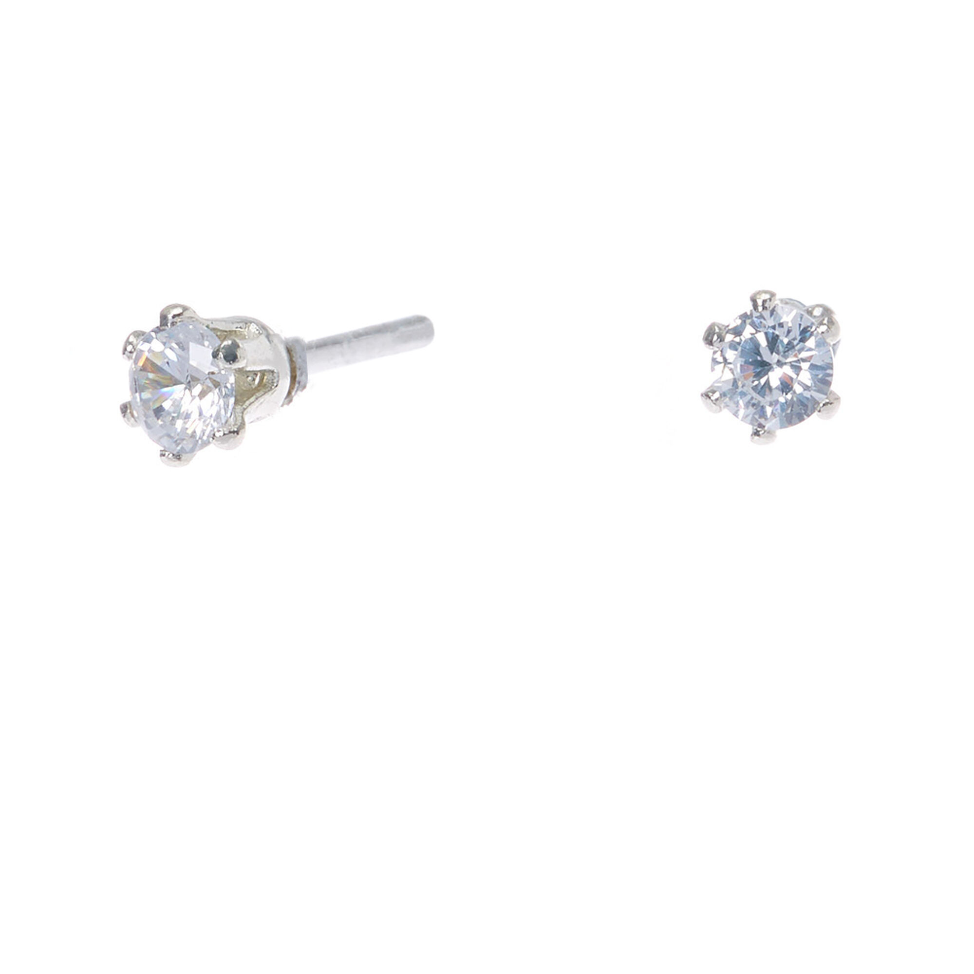 Silver Cubic Zirconia Round Stud Earrings - 3MM