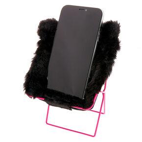 Black Cat Phone Holder Chair - Black,