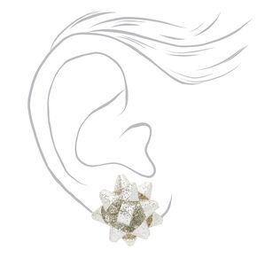Glitter Bow Stud Earrings - Silver,
