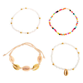 Mixed Rainbow Beaded Cowrie Shell Bracelets - 4 Pack,