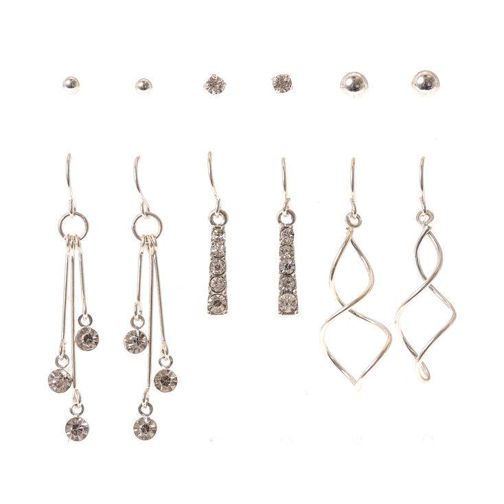 Silver Stud & Linear Drop Earrings - 6 Pack,