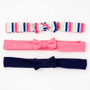 Claire's Club Stripe Bow Headwraps - 3 Pack,