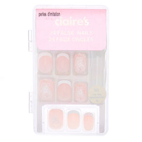 Fancy Flower French Tip Square Faux Nail Set - Nude, 24 Pack,
